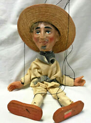 Mexican Marionette String Puppet W/ Sombrero Bandit Cross Handle Toy Doll Figure
