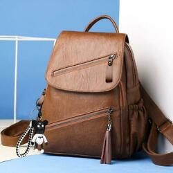 Vintage Leather Multi zip Women Backpacks High Capacity Quality Soft School Bags $24.59