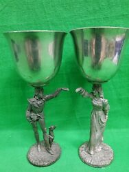 Vintage Pewter Wedding Chalices Goblets Romeo And Juliet Maurus Gallo 1988