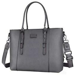 MOSISO PU Leather Laptop Tote Bag for Women Up to 15.6 inch Gray Size 15.6 $9.99