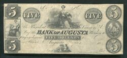 1800's 5 Bank Of Augusta Georgia Obsolete Banknote Remainder Uncirculated
