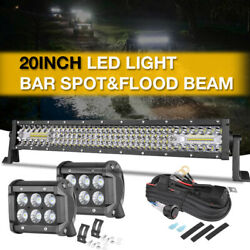 20inch Led Light Bar Spot Flood Work Suv Boat Driving Offroad + 4 Pods + Wiring