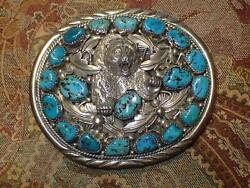 Vintage Navajo Turquoise Sterling Silver Belt Buckle With Bear