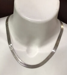 """Sterling Silver Italy 925 Wide 8mm Serpentine Chain Necklace 19""""italy 27 Grams"""