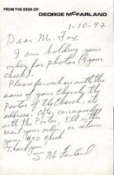 Spanky Mcfarland - Autograph Letter Signed 01/10/1992