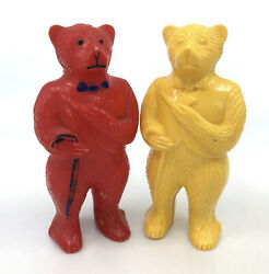 Baby Rattle X 2 Hard Plastic Bears In Tuxedo Vests Canes 4in 1940s Yellow Red