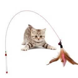 Funny Cat Kitten Pet Teaser Feather Wire Chaser Pet Toy Wand Beads Play