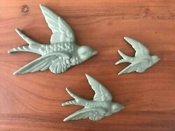 S 3 Sage Green Flying Wall Birds Hanging Retro Vintage Style Ornament Swallow
