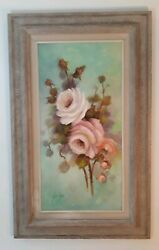 Joan Tovar Large 15x30 Signed Oil Painting Beautiful Roses. Excellent Frame