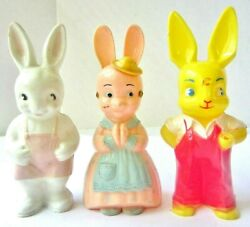 Vintage 3 Knickerbocker Hard Plastic 6and039 Easter Bunny Rabbit Candy Container