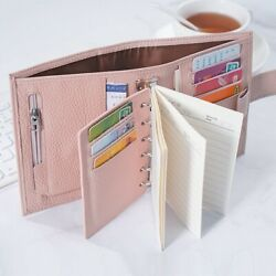 Pink Planner A7 Pocket Rings Agenda Leather Organizer Notebook Blush Journal New