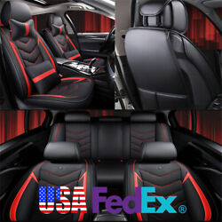 Car Seat Covers w Pillows Full Set Black amp; Red PU Leather For 5 Seats Car Truck $71.93