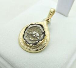 Ancient Greek Coin Apollonia Silver Coin 4th Cent. Pendant In 14k Gold Bezel 8 G