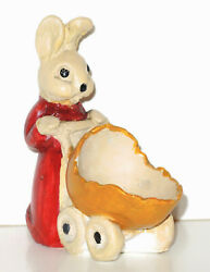 1930s Carnival Chalkware Mrs Easter Bunny Rabbit Pushing Baby Carriage Egg Buggy