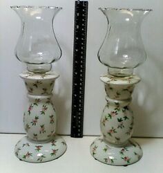 Two Ceramic Candle Sticks Pink Floral Glass Votive Holders