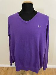 FRED PERRY V Neck Sweater Mod Casual Size 2XL XXL Purple $30.00