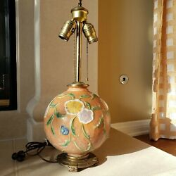 Rare Roseville Pottery Factory Lamp Multi-color Floral With Dav Art Ny Base