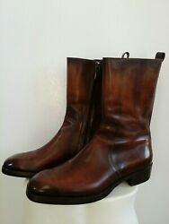 Berluti Brown Patina Leather Chiseled Toe Ankle Boots Zip Close Sz 6uk / 6.57us