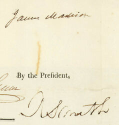 James Madison - Four Language Ships Papers Signed 08/18/1809 With Co-signers