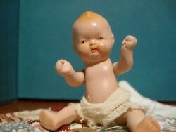 Tiny vintage bisque baby doll Japan w diaper amp; quilt