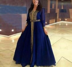 Formal Chiffon Evening Dresses For Ladies Beaded Long Sleeved Conservative Gowns