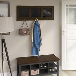 Twin Star Homeac 6 Hook Hanging Hall Tree With Chalkboards, Saw Cut Espresso