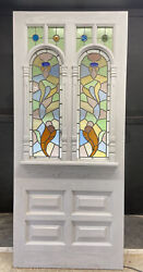 Large Edwardian Stained Glass Front Door Period Old Leaded Reclaimed Antique