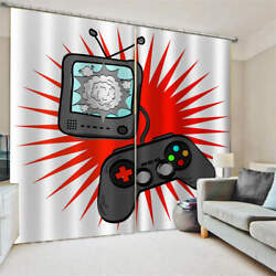 Black Game Blast Console Red Sun Printing 3d Blockout Curtains Fabric Window