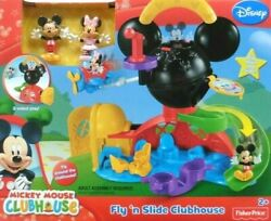 Fisher-price Disney Mickey Mouse Fly And039n Slide Clubhouse Plane 2 Sided Play Rare