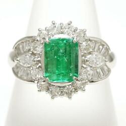 Platinum 900 Ring 14 Size Emerald 1.61 Diamond About9.1g Free Shipping Used
