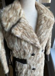 Gorgeous Vintage 1970s Sheared Blonde Mink amp; Leather Women#x27;s Fur Car Coat Small $164.00