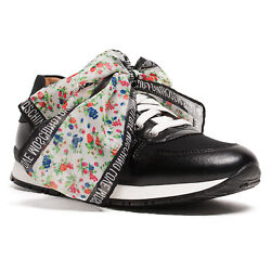 Love Moschino Black Lace Up Scarf Embellished Sneakers $124.99