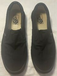 Men's VANS All Black Slip On Shoes Size 11 FREE SHIPPING