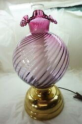 Vintage Fenton Glass Lamp Mulberry Spiral Optic Electric Table Lamp Purple