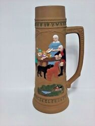 Vtg Ceramic Beer Stein 16 German Family Table Scene Dogs Hand Painted Mancave