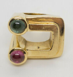 Red Green Tourmaline Modernist 1970and039s Ring 14k Yellow Gold 17.3g Size 6