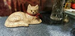 Vintage 70s Trailing Flower Decoupage Yellow Cat with Unique Yellow Eyes