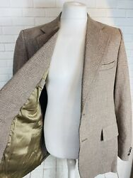 Mens German Quality Ratner Wool Brown Check Tailored Blazer Jacket Large Xl /a8