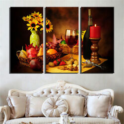 3pcs Modern Fruits Canvas Art Oil Painting Picture Kitchen Wall Hanging Decor
