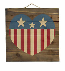Usa Heart Flag Red White And Blue - Decorative Wood Wall Art