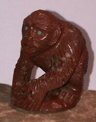 Zuni Fetish Carved Pipestone Catlinite Gorilla By Derrick Kaamasee New