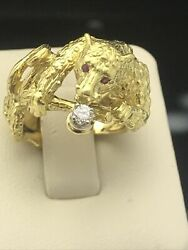 Peter Lindeman 18k Yellow Gold Jaguar Ring With Ruby Eyes And One Diamond Mouth