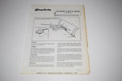 Simplicity 42 Snow Plow And Dozer Mfg. No. 179 Owner's Manual