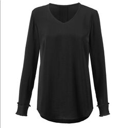 CAbi NEW Black Classic Blouse With Ruffle Sleeves Satin look Size Large 3599 L