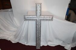 Large Antique Wood Crucifix Cross Religious Christianity Carved Patterns Silver