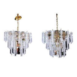 Pair 2 Lucite Smoked Glass Mirror Chandelier Hanging Light Fixture Lamp Shade