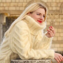 Ivory Mohair Sweater Cable Turtleneck Fuzzy Hand Knit Thick Pullover Supertanya