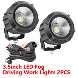 2x 3.5inch Offroad Cree Led Driving Fog Lights Spot Flood Combo Round + Wiring