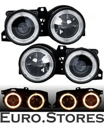 Angel Eyes Headlight For 3 Series Bmw E30 Black With Crosshairs Left Right New
