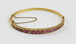 Vintage And Estate 18k Yellow Gold Over 7.5 Bangle Bracelet With 4.12ct Red Ruby